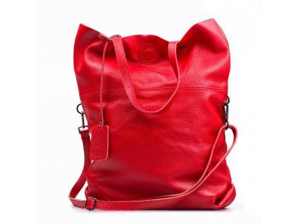 Kožená maxi shopper kabelka Rosine červená