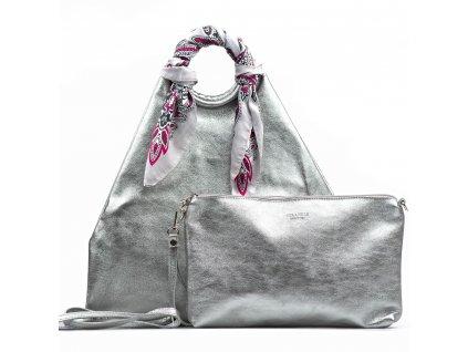 Kožená maxi kabelka Conny stříbrná