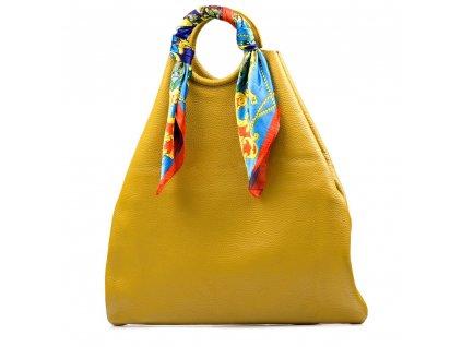 Kožená maxi kabelka Conny hořčicově žlutá