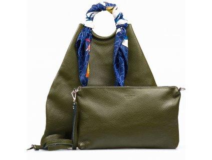 Kožená maxi kabelka Conny zelená