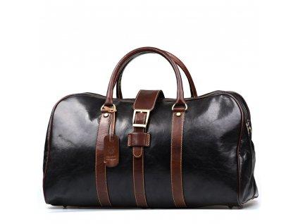 Kožená cestovní taška Modena černo-hnědá
