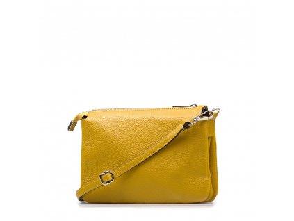 Kožená crossbody kabelka Peggy hořčicově žlutá
