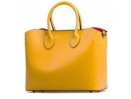 Kožená kabelka Lina hořčicově žlutá s červenou kapsou