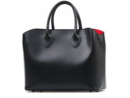 Kožená kabelka Lina černá s červenou kapsou