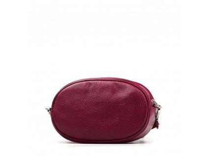 Kožená ledvinka - crossbody kabelka Michela vínově červená