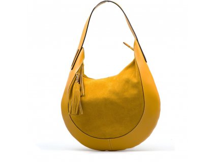Kožená kabelka Algisa hořčicově žlutá