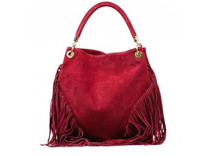 Kožená kabelka Margy se střapci vínově červená
