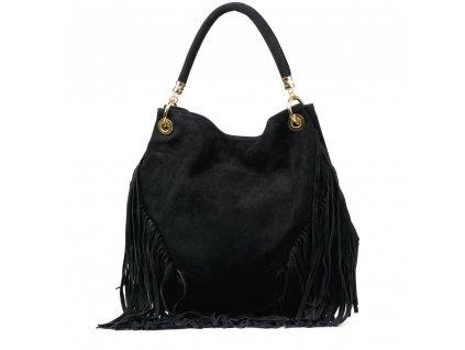 Kožená kabelka Margy se střapci černá