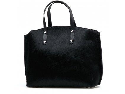 Kožená kabelka s kožešinou Ruby černá