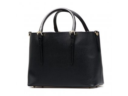 Kožená kabelka Emma s červenou kapsou černá