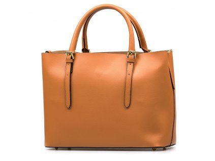 Kožená kabelka Emma s červenou kapsou koňakově hnědá