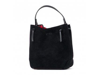 Kožená kabelka Brigida černá s červeným interiérem