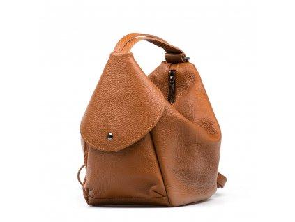 Kožená kabelka - batůžek Tianna koňakově hnědá