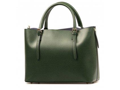 Kožená kabelka Emma s červenou kapsou zelená