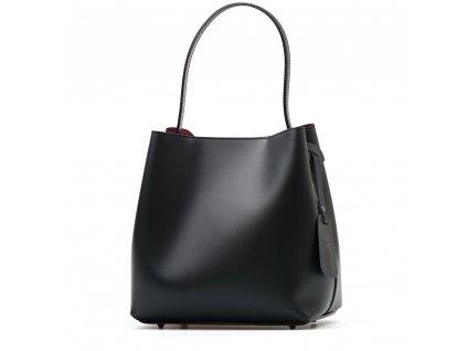 Kožená kabelka Sarah černo-bordó