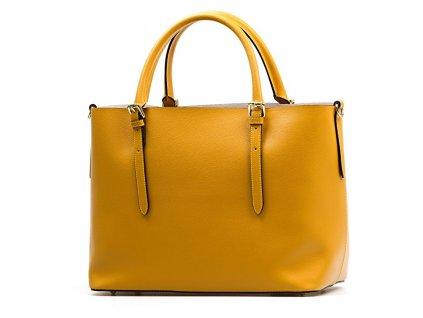 Kožená kabelka Emma s červenou kapsou hořčicově žlutá