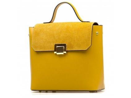 Kožená kabelka - batůžek Gera hořčicově žlutá