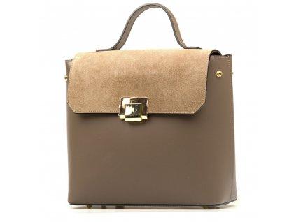 Kožená kabelka - batůžek Gera camel