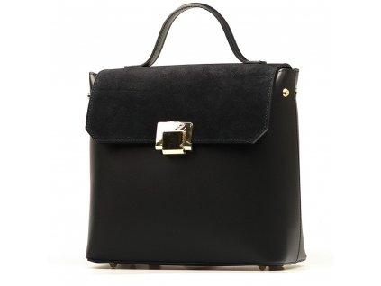 Kožená kabelka - batůžek Gera černý