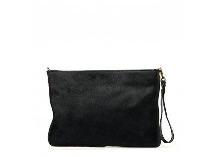 Kožená kabelka s kožešinou Bruna černá
