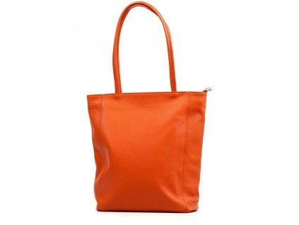 Kožená shopper kabelka Gina oranžová