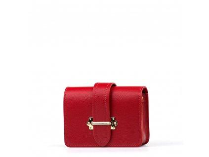 Kožená kabelka - ledvinka Liv červená