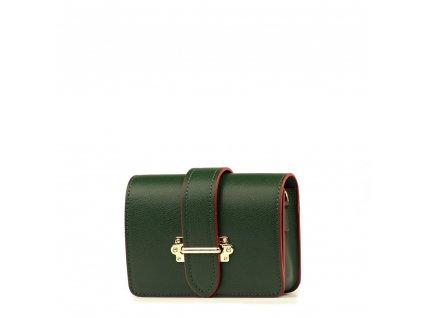 Kožená kabelka - ledvinka Liv zeleno - červená