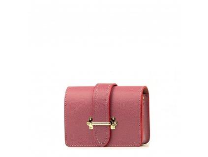Kožená kabelka - ledvinka Liv růžovo - červená