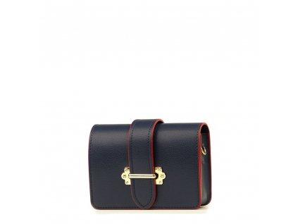 Kožená kabelka - ledvinka Liv modro - červená