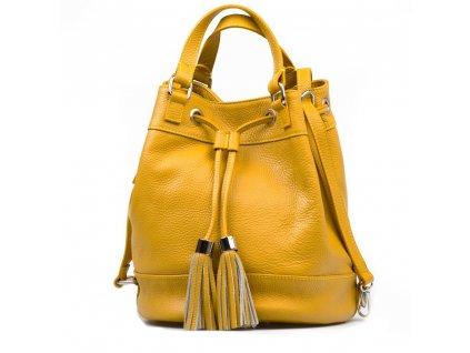 Kožená kabelka Cilly hořčicově žlutá