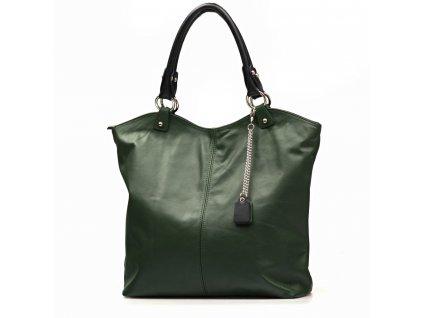 Kožená shopper kabelka Oresta zelená