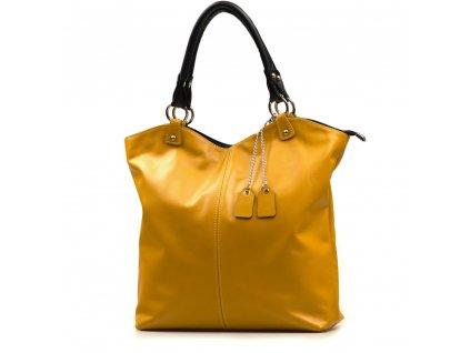 Kožená shopper kabelka Oresta žlutá