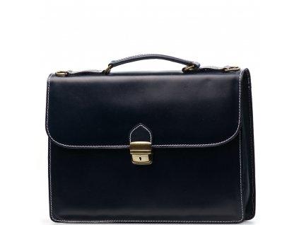 Kožená pracovní taška Nica tmavě modrá