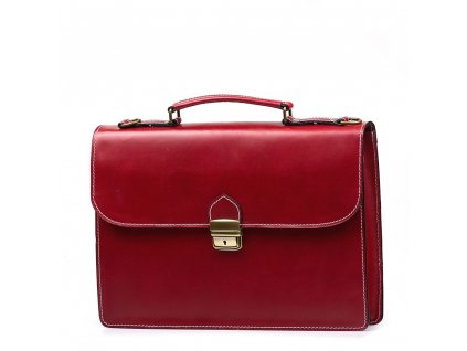 Kožená pracovní taška Nica červená