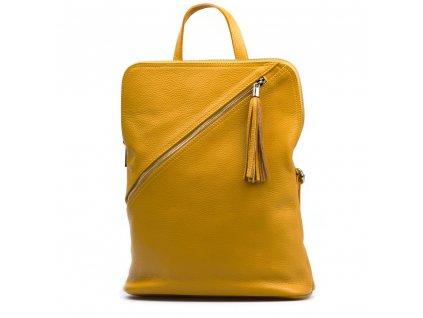 Kožený batůžek Zaira hořčicově žlutý