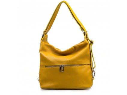 Kožená kabelka - batůžek Ivora hořčicově žlutá