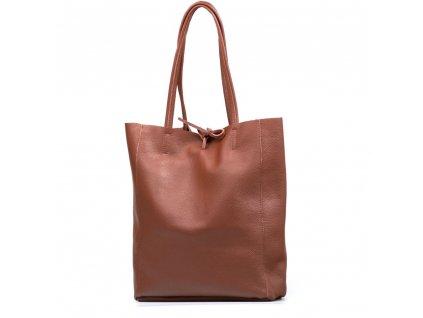 Kožená shopper kabelka Solange hnědá