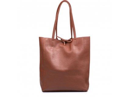 Kožená shopper kabelka Solange tmavě hnědá