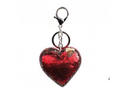Přívěšek s motivem srdce červený