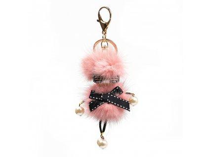 Kožešinový přívěsek s motivem a perlami růžový