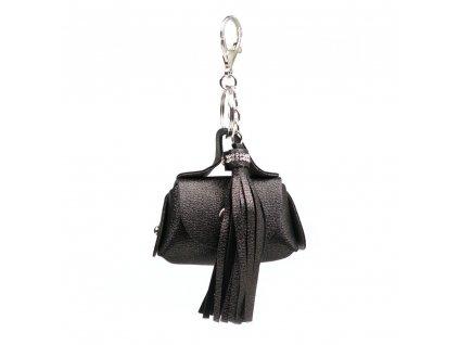 Přívěsek na kabelku s motivem kabelky a střapcem šedý