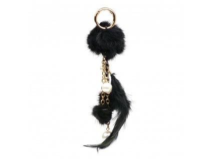 Kožešinový přívěsek na kabelku s perlami černý