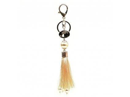 Přívěsek na kabelku se střapcem a perlami béžový