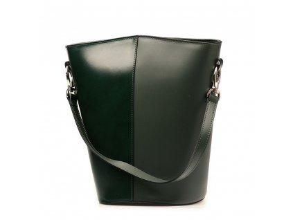 Kožená kabelka Ester pololakovaná zelená