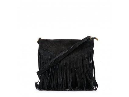 Kožená kabelka s třásněmi Bibi černá