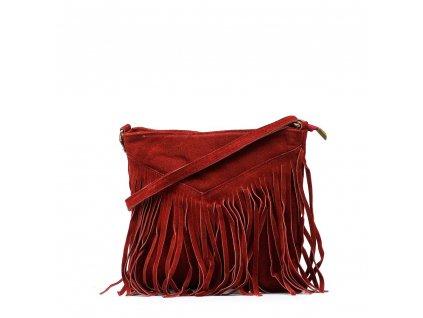 Kožená kabelka s třásněmi Bibi vínově červená