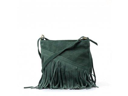 Kožená kabelka s třásněmi Bibi zelená