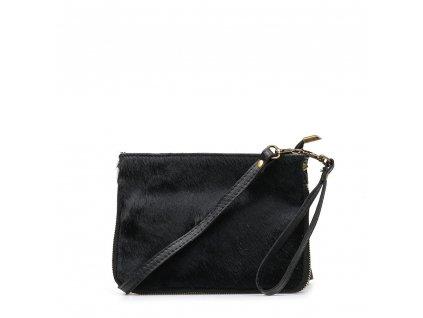 Kožená kabelka Numa s kožešinou černá