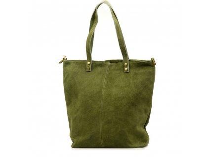Kožená kabelka shopper Luna olivově zelená