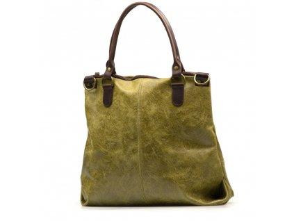 Kožená shopper kabelka Susanna zelená